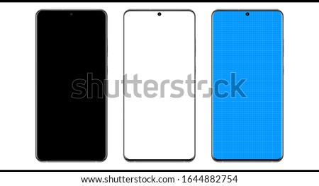 Smartphone mock up design Samsung Galaxy S20 plus ultra 2020 on transparent background blueprint for presentation