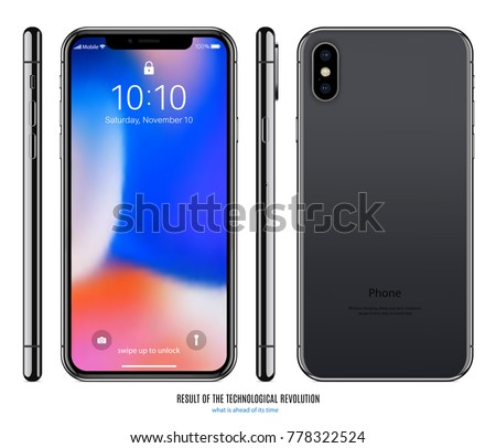 smartphone mockup in iphone style black color with colored screen front, back and side on white background. stock vector illustration eps10