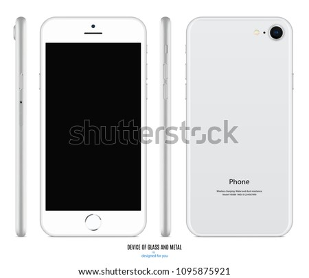 smartphone mockup in iphone style silver color with blank screen front, back and side on white background. stock vector illustration eps10