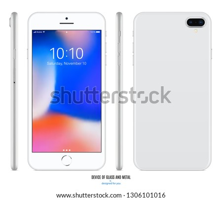 smartphone mockup in iphone style silver color with colorful screen front, back and side on white background. stock vector illustration eps10