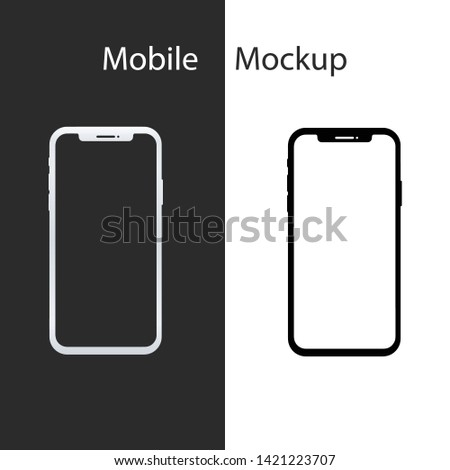 Smartphone mockup. New black frameless smartphone mockup with white screen. Isolated on white and black background.