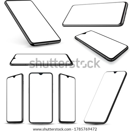Smartphone mockup perspective collection mockup easy place application game and website demo in to screen and mockup easy place on advertising poster. Vector illustration.
