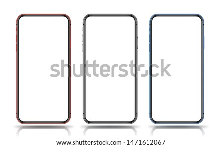 Smartphone mockup red black blue colours for easy place demo on mobile screen. Vector illustration object for technology communication and applications.