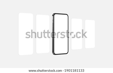 Smartphone Mockup With Blank App Screens, Perspective View. Vector Illustration