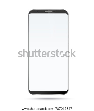 Smartphone mockup with blank screen. Black vector frameless smart phone, cellphone isolated on white background
