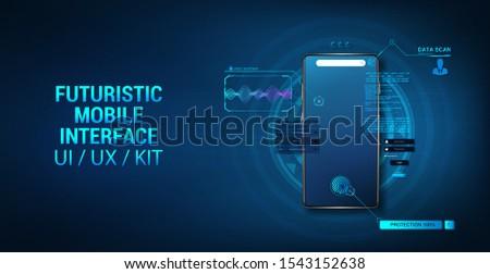 Smartphone mockup with interface HUD, hologram futuristic user interface. 3D realistic mockup mobile phone. Template presentation UI design, App. Hologram cell phone HUD, GUI, UI, KIT. Vector ima Stock fotó ©