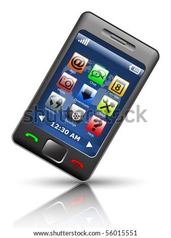 Smartphone on white background, vector illustration