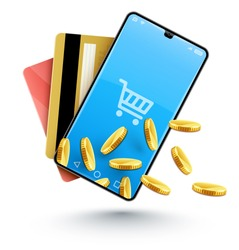 Smartphone online shopping with gold coins. Concept for modern mobile It technology for web online business in internet with credit cards payment. Isolated white background. Eps10 vector illustration.