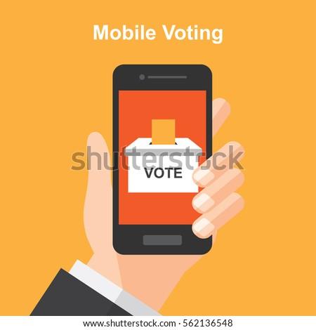 smartphone online voting , vote , election. digital device. vector illustration.