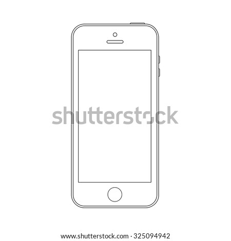 smartphone outline icon in iphone style on the white background. stock vector illustration eps10