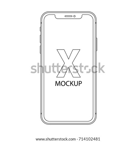 smartphone outline icon in Iphone X style on the white background. stock vector illustration eps10