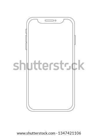 Smartphone outline, mobile phone isolated on white background