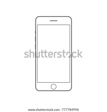Smartphone outline. Mobile phone outline. Outline smartphone black lines with empty screen vector eps10. Mobile phone smartphone outline sign.