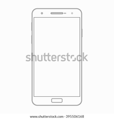 Smartphone outline template. Vector wireframe contour of modern mobile phone, cellphone isolated on white background. Blank screen. Device or gadget icon, symbol, sign