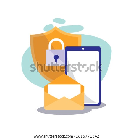 Smartphone padlock and envelope design, Cellphone mobile digital phone technology communication and social media theme Vector illustration