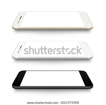 Smartphone perspective mockup transparent screen collection easy place your demo on screen. Vector illustration for technology element and advertising poster.
