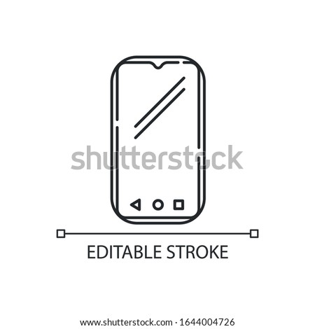 Smartphone pixel perfect linear icon. Mobile, cell phone. Pocket personal computer. Telephone. Thin line customizable illustration. Contour symbol. Vector isolated outline drawing. Editable stroke