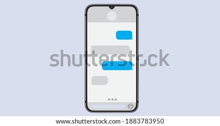 Smartphone recieve messages. Message bubbles. Text messages send and recieve. Messenger conversation blue and grey. SMS chat. Type sms message. Communication in social media network.