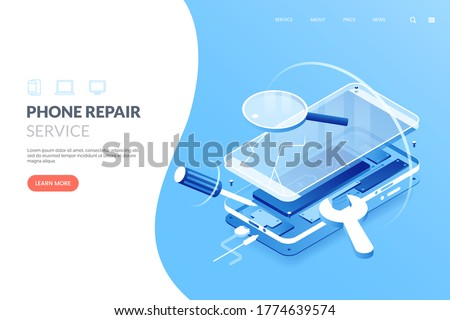 Smartphone repair service vector illustration. Disassembled smartphone in isometric view. Mobile phone repair process. Fix gadgets web banner concept. Photo stock ©