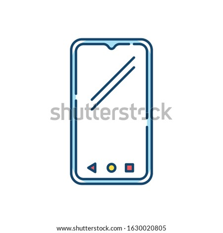 Smartphone RGB color icon. Mobile, cell phone. Pocket personal computer. Cellular telephone. Touchscreen. Touch display. Handheld portable device. Technology. Isolated vector illustration