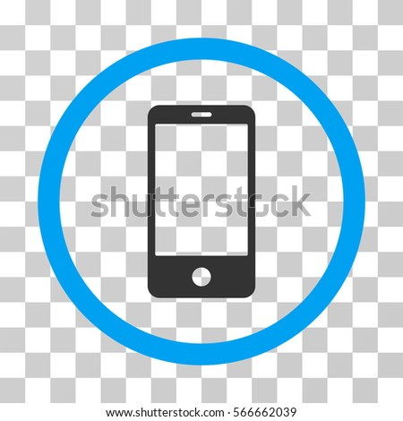 Smartphone rounded icon. Vector illustration style is flat iconic bicolor symbol inside a circle, blue and gray colors, transparent background. Designed for web and software interfaces.