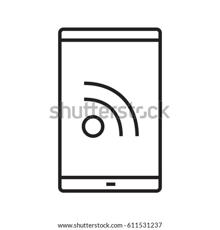 Smartphone rss feed linear icon. Thin line illustration. Contour symbol. Vector isolated outline drawing