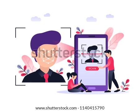 Smartphone scans a man face. Biometric identification. Facial recognition system concept. Mobile app for face recognition. Ultraviolet flat vector illustration.