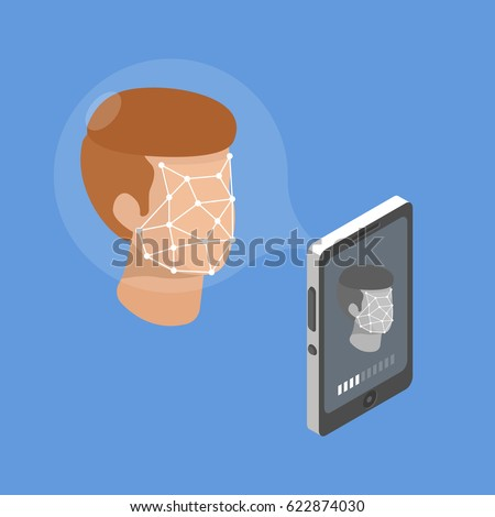 Smartphone scans a person face. Biometric identification. Facial recognition system concept. Mobile app for face recognition. Isometric flat vector illustration