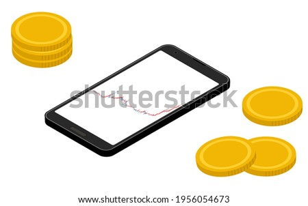 Smartphone screen showing rising chart, virtual currency, isometric