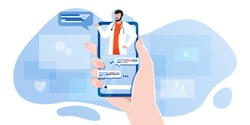 smartphone screen with male therapist on chat in messenger and an online consultation. Vector flat illustration. Ask doctor. Online medical advise or consultation service, tele medicine, cardiology
