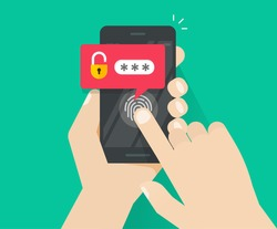 Smartphone security unlocked via fingerprint or thumbprint button, password notification vector, mobile phone security, cellphone personal access via finger print, user authorization, login protection