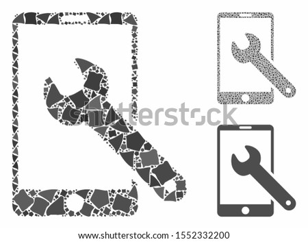 Smartphone setup wrench composition of raggy pieces in variable sizes and color tones, based on smartphone setup wrench icon. Vector raggy parts are united into composition.