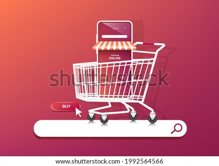 smartphone shop in shopping cart and the shopping cart is on the web searcher tab icon. and there is a buy icon next to it for shopping online concept,vector 3d on purple orange background