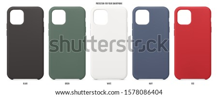 smartphone silicone cases set. accessories for mobile phone isolated on white background. stock vector illustration Photo stock ©