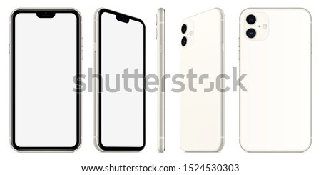 smartphone silver color with blank touch screen saver isolated on white background. realistic and detailed mobile phone mockup. stock vector 3d isometric illustration