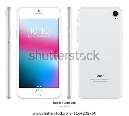 smartphone silver color with colorful touch screen saver, back and side view isolated on white background. realistic and detailed mobile phone mockup. stock vector illustration