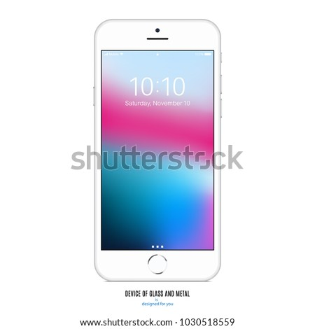 smartphone silver color with colorful touch screen saver isolated on white background. realistic and detailed mobile phone mockup. stock vector illustration