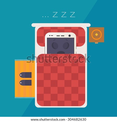 smartphone sleeping in the bed