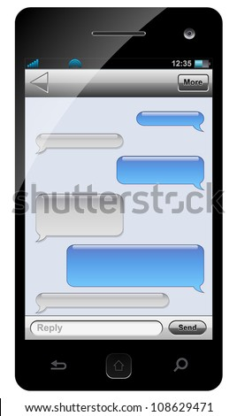 smartphone sms chat template with balloons for your text stock vector illustration 108629471. Black Bedroom Furniture Sets. Home Design Ideas