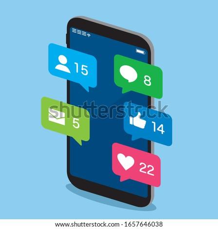 Smartphone SNS web icons vector  Foto stock ©