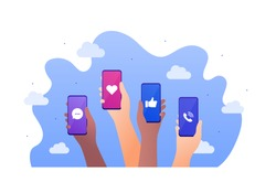 Smartphone social media app concept. Vector flat illustration. Call and message, thumbs up, heart shape like sign. Group of multiethnics hands hold smart phone. Design for banner, poster, ui.