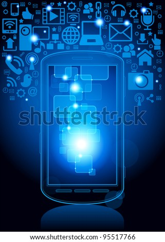 smartphone; social media, communication in the global computer networks.File is saved in AI10 EPS version. This illustration contains a transparency