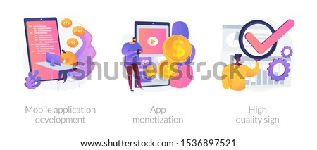 Smartphone software, profit receiving, successful rating icons set. Mobile application development, app monetization, high quality sign metaphors. Vector isolated concept metaphor illustrations