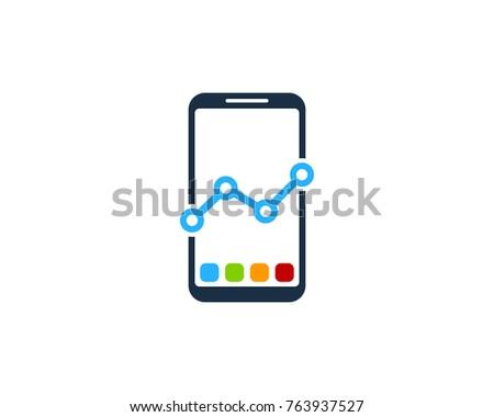 Smartphone Stats Icon Logo Design Element