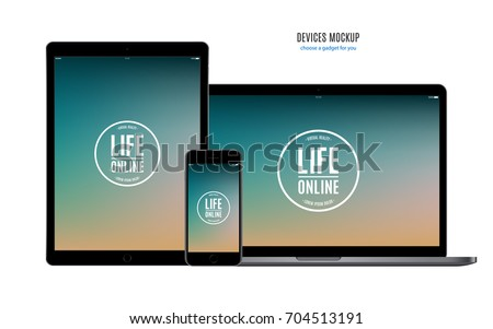 smartphone, tablet and laptop set black color with multicolor screen saver isolated on white background. realistic and detailed devices mockup. stock vector illustration