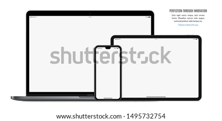 smartphone, tablet and laptop set  with blank screen saver isolated on white background. realistic and detailed devices mockup. stock vector illustration