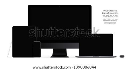 smartphone, tablet, computer monitor, laptop, mouse and stylus with black screen saver isolated on white background. realistic and detailed devices mockup. stock vector illustration