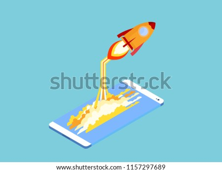 Smartphone Touchscreen mobile phone glows Rocket and smoke through cloud Business startup concept. 3d isometric flat design flat design vector illustration.