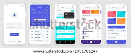 Smartphone UI. Realistic phone touchscreens for sport and banking application. Mobile interface of planner app or account registration form with login and password. Vector colorful screen mockups set