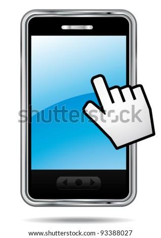 Smartphone vector icon with hand cursor. Touchscreen symbol.